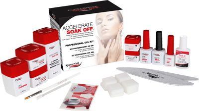 SuperNail's Accelerate Soak-Off Pro-Kit Includes: .25 oz Accelerate Soak Off White Gel Polish in Snow Flurry .25 oz Accelerate Soak Off Pink Gel Polish in Delicate Rose 20 Nail Tips 20 Nail Forms Brush-On Nail Glue Cuticle Pusher Instruction Booklet