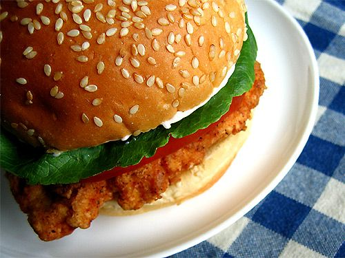 Healthy Homemade Wendy's Spicy Chicken Sandwich: Baked it until cooked through then brushed them with olive oil and broiled until crispy. Very spicy & delicious!