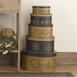 Love the stenciling on this Black & Mustard Folk Art Boxes