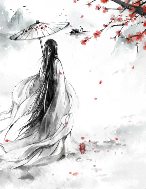 Japanese art Mensch Person Schirm Kirschblüten