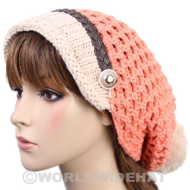 Visor Pom Beanie Crochet Hat Knit Cap Winter Pink vs485p - Hats Caps