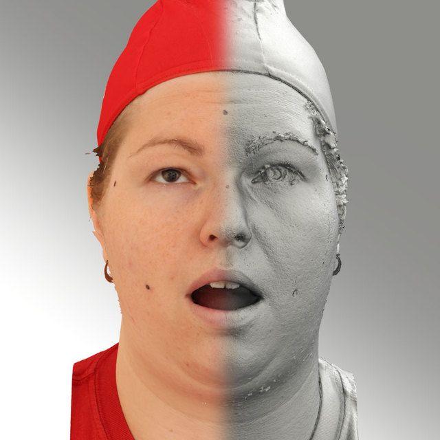 3D Head Scan Of Looking Up Emotion   Misa