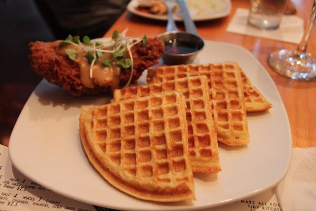 Chicken and waffles at The Bee's Knees, Augusta, Georgia