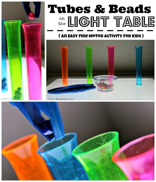 Tubes and Beads on the Light Table! A fine motor color learning activity for kids!