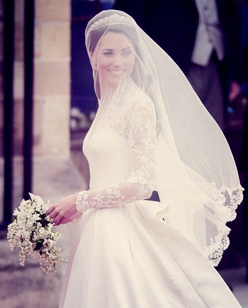 Catherine Middleton, Duchess of Cambridge, on her wedding day, April 29, 2011, in a Sarah Burton dress. {Westminster Abbey, London, UK}