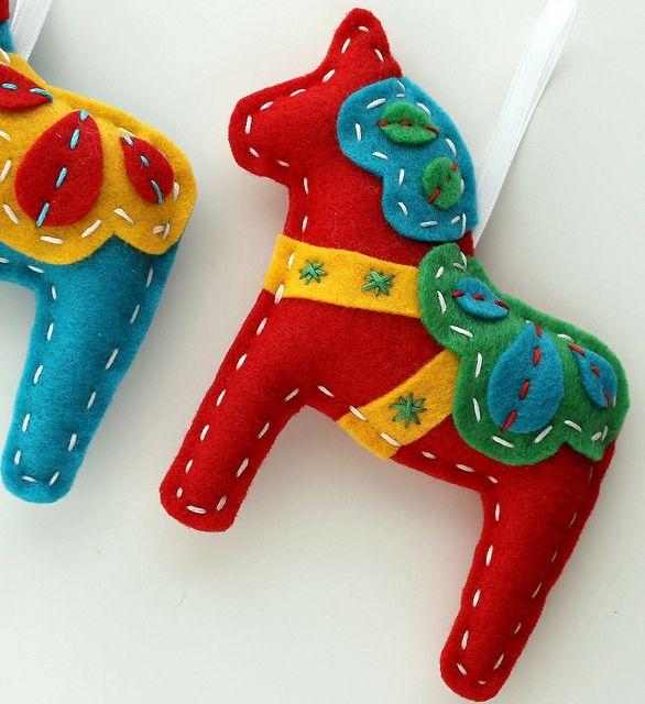 Felt Dala Horse Xmas Ornament Red, make for candace, jason, each of the children, grams