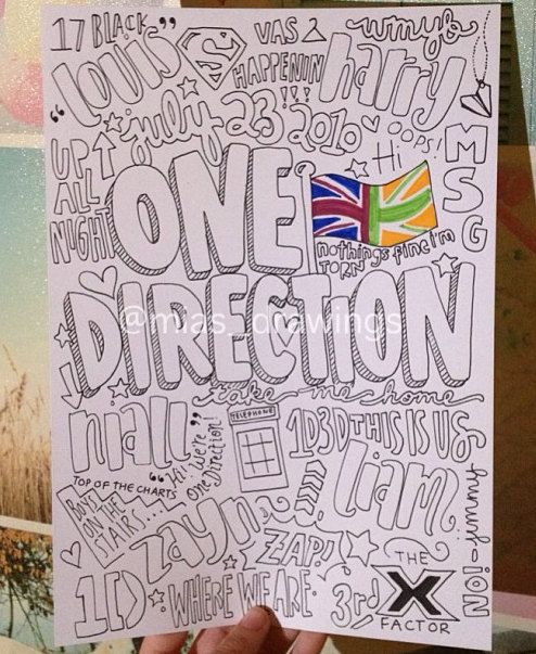 One Direction Collage black and white mostly by Miasdrawings, $6.00