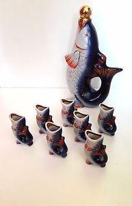 a conjunto de licorera y vasos forma de pez epoca sovietica original de la urss