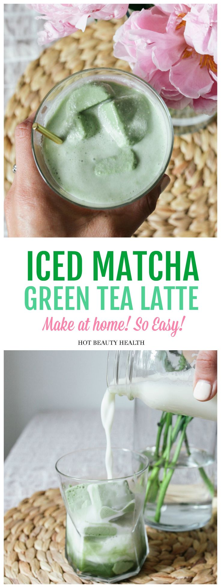 This healthy & creamy Iced Matcha Green Tea Latte recipe is lightly sweetened and with a hint of vanilla. By using an ice cube tray to freeze the matcha mixture (match powder, coconut milk, almond milk, and honey), it's more simple to make and the perfect make-ahead drink. Vegan, dairy-free and a much healthier version than Starbucks. Click pin for recipe! Hot Beauty Health #matchatea #icedmatchatea #healthytea #greentea #matchagreentea #healthydrink