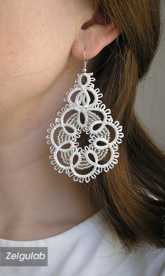 Wedding tatted Earrings white crystall handmade lace por Zelgulab