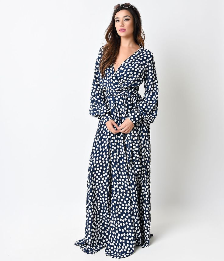 authentic jordan 13 ebay 1970s Style Navy  amp  White Polka Dot Long Sleeve Maxi Dress