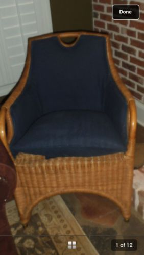 Ralph Lauren Woven Natural Wicker Chair Vintage Leather