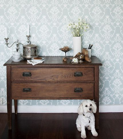 Moore  Moore Wallpaper  Flannel Flower Damask  Styled by Diana Moore