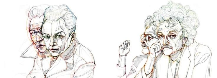 Знаменитые писатели за работой.  От иллюстратора Шу Нам.  Альбер Камю.   Курт Воннегут.