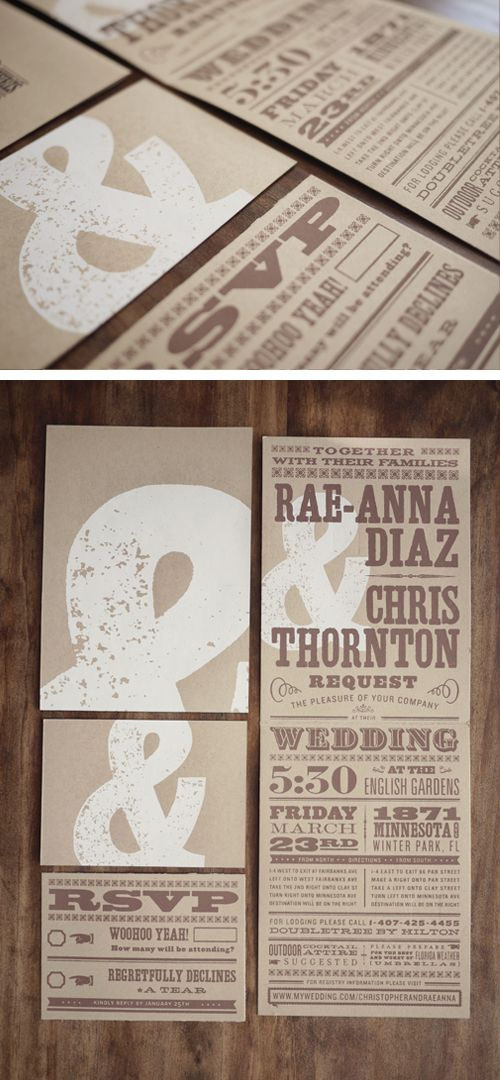 Earthy & Brown Wedding Invites by Two Arms Inc  we never had invitations, our wedding was so small-these are fun-like the color, they'll have to be worded way differently