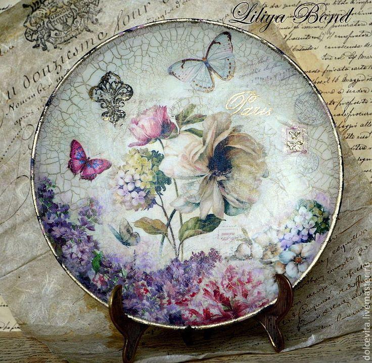 """Купить Тарелка-панно """"Пионы Парижа""""-1 - тарелка, панно, Декупаж, пион, цветы"""