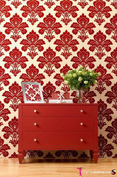 Hello! Bright Red Wallpaper for Interiors-Interior Decors Pictures
