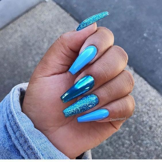 @ chaunlegend  #Nails - acrylicnails. | Blue glitter nails, Blue acrylic nails, Coffin nails designs