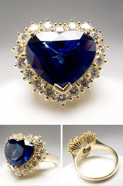 Vintage Saphire + Diamond Heart Ring - Titanic anyone?  would love an engagement ring to be like this