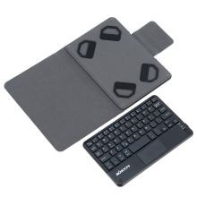 KKmoon 59 Keys Ultra Slim Thin Mini Touch Pad Bluetooth Keyboard with Foldable Magnetic Leather Case for Android Windows PC Tablet Smartphone