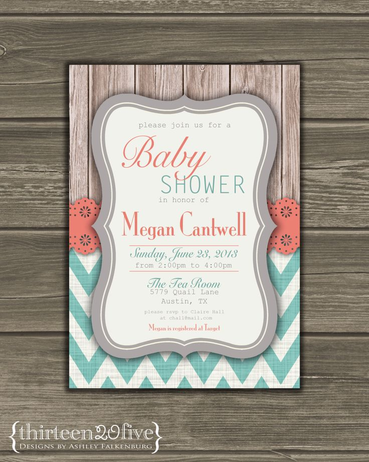 Chevron Baby Shower Invitation Coral Teal Gray