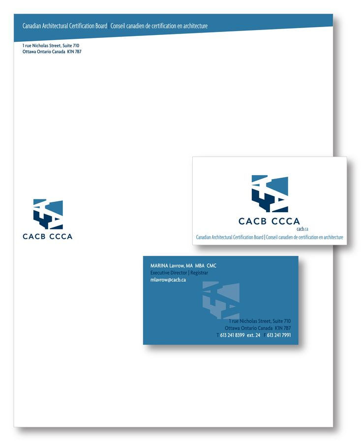 Canadian Architectural Certification Board - logo, letterhead and business card