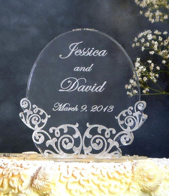 Vintage Oval  Wedding Cake Topper   Engraved & by artZengraving, $26.00