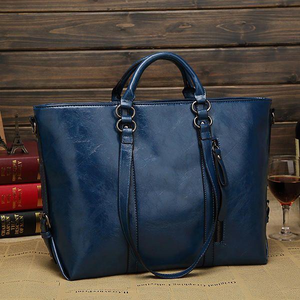Women Fashion Minimalist Handbag Leisure Business Shoulder Bag Tote Bag - US$34.98