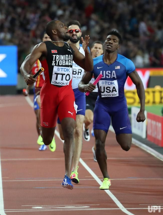 Trinidad's Lalonde Gordon wins the Men's 4 x 400 Meters Final at the 2017 IAAF World Athletics Championships at the Olympic Stadium, London…