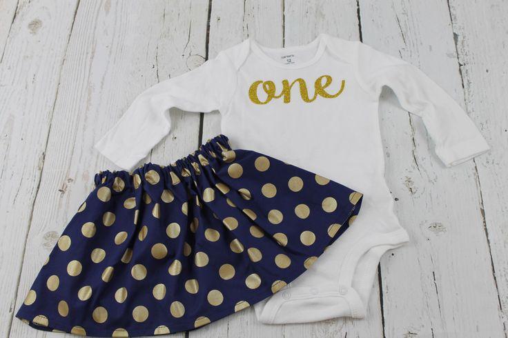 1st Birthday Girl Outfit Gold Glitter Long Sleeved Bodysuit Navy Polka Dot Skirt Nautical Birthday Outfit  Baby Girls Second Birthday outfit by LisaAnnsCreations on Etsy https://www.etsy.com/listing/254543922/1st-birthday-girl-outfit-gold-glitter