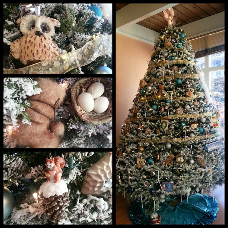 "Flocked Tree:  I went with gold, silver and teal as the main color. My theme was ""mountain house"" I was into owls this year. And  I found ornaments of animals surrounding us such as birds, squirrels, racoons, and skunks."