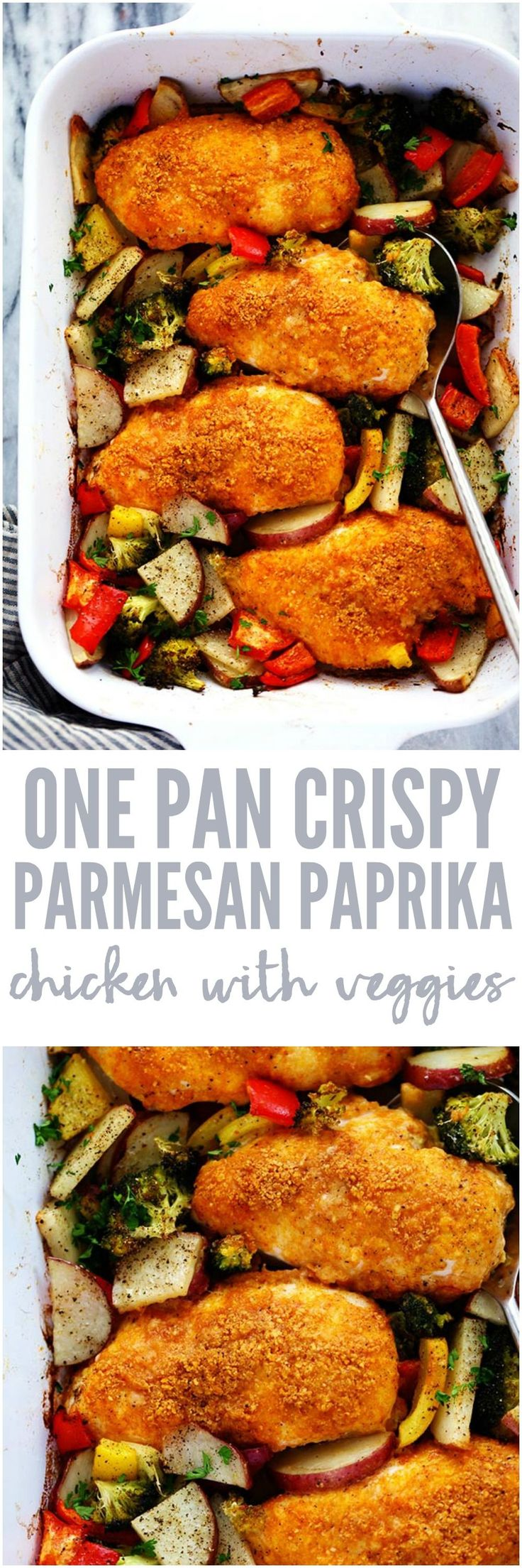 One Pan Crispy Parmesan Paprika Chicken with Vegetables has tender and juicy chicken with a crispy parmesan paprika breading surrounded by veggies. It it is full of flavor and makes an amazing one pan dinner your family will love!