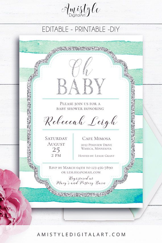 Striped Baby Shower, Printable Invitation - with mint watercolor stripes and silver elements by Amistyle Digital Art on Etsy