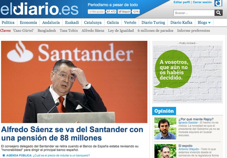 Portada de eldiario.es 29 de abril de 2013