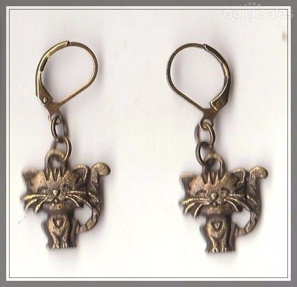 Cat Charm Bronze Hinged Earrings  by MadAboutIncense - $9.50