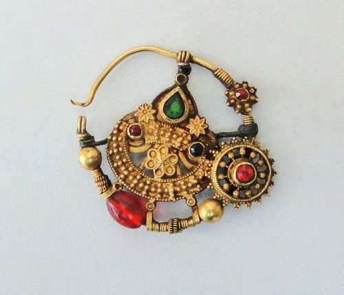 Vintage antique ethnic tribal NOSE RING (nath) India.