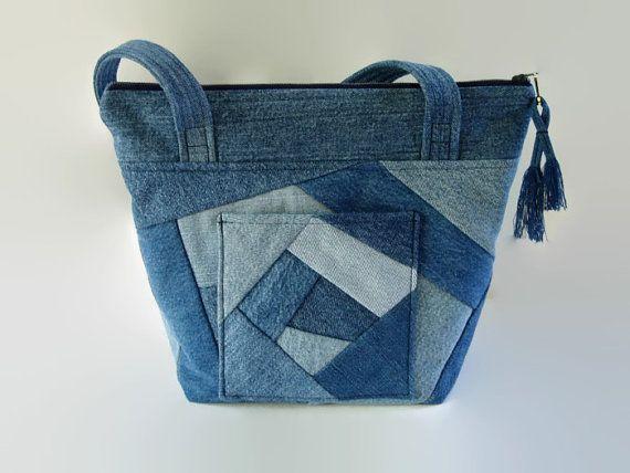 Denim Jean Crazy Quilt tas Upcycled van SuzqDunaginDesigns op Etsy