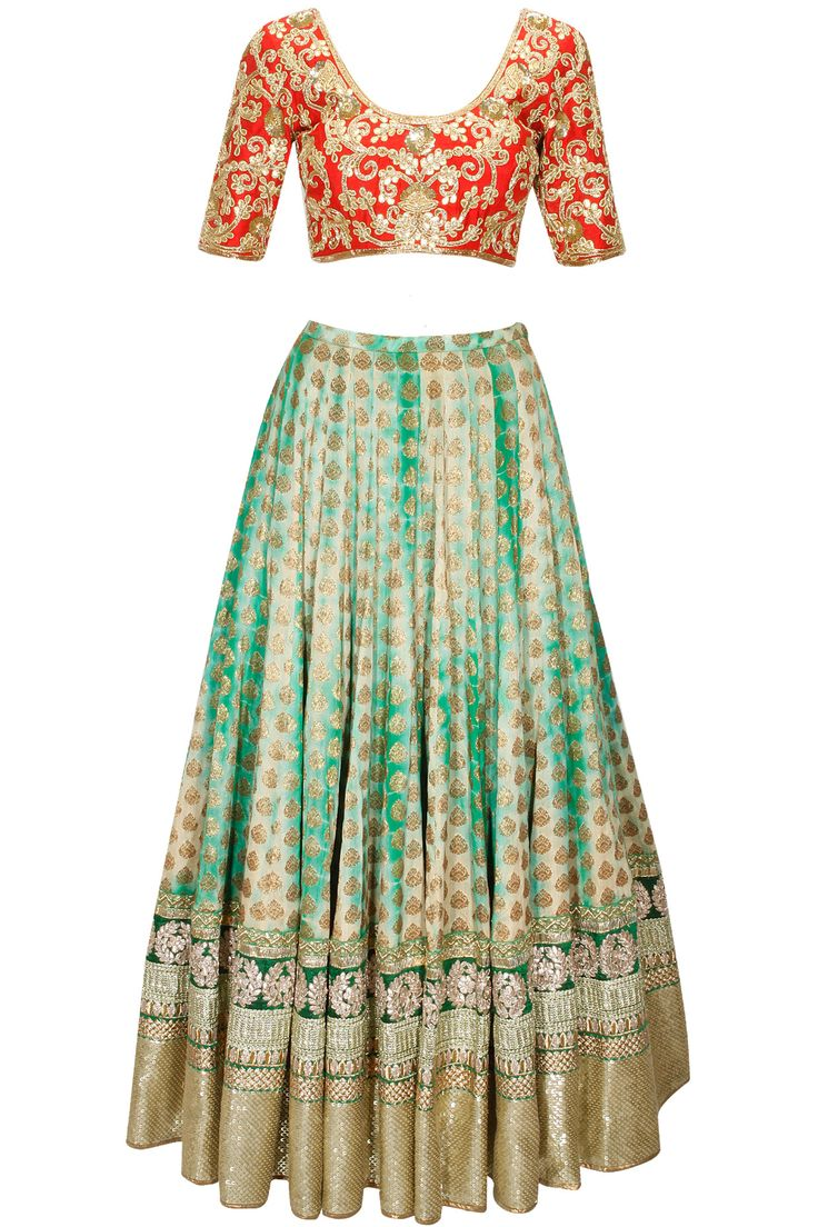 Green shibori brocade lehenga with red embroidered blouse and dupatta available only at Pernia's Pop-Up Shop.