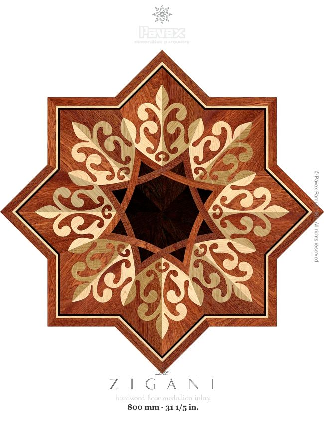 The Zigani hardwood floor medallion pattern. Manufactured by Pavex Parquet - http://www.pavexparquet.com/