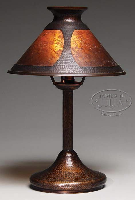 ARTS AND CRAFTS HAMMERED COPPER LAMP WITH MICA SHADE. - James D. Julia, Inc.