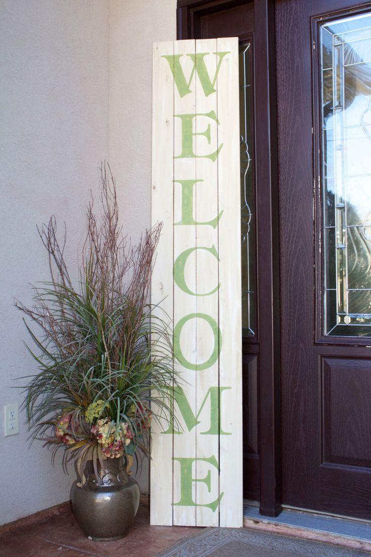 """Huge Oversized Spring """"Welcome"""" Front Door/Porch Wood ..."""