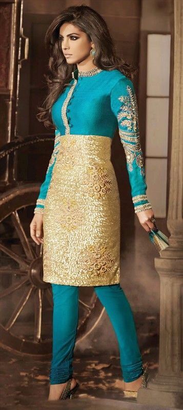 Priyanka Chopra, Salwar Kameez, Silk, Net, Bhagalpuri, Floral, Stone, Patch, Sequence, Resham, Blue, Gold Color Family