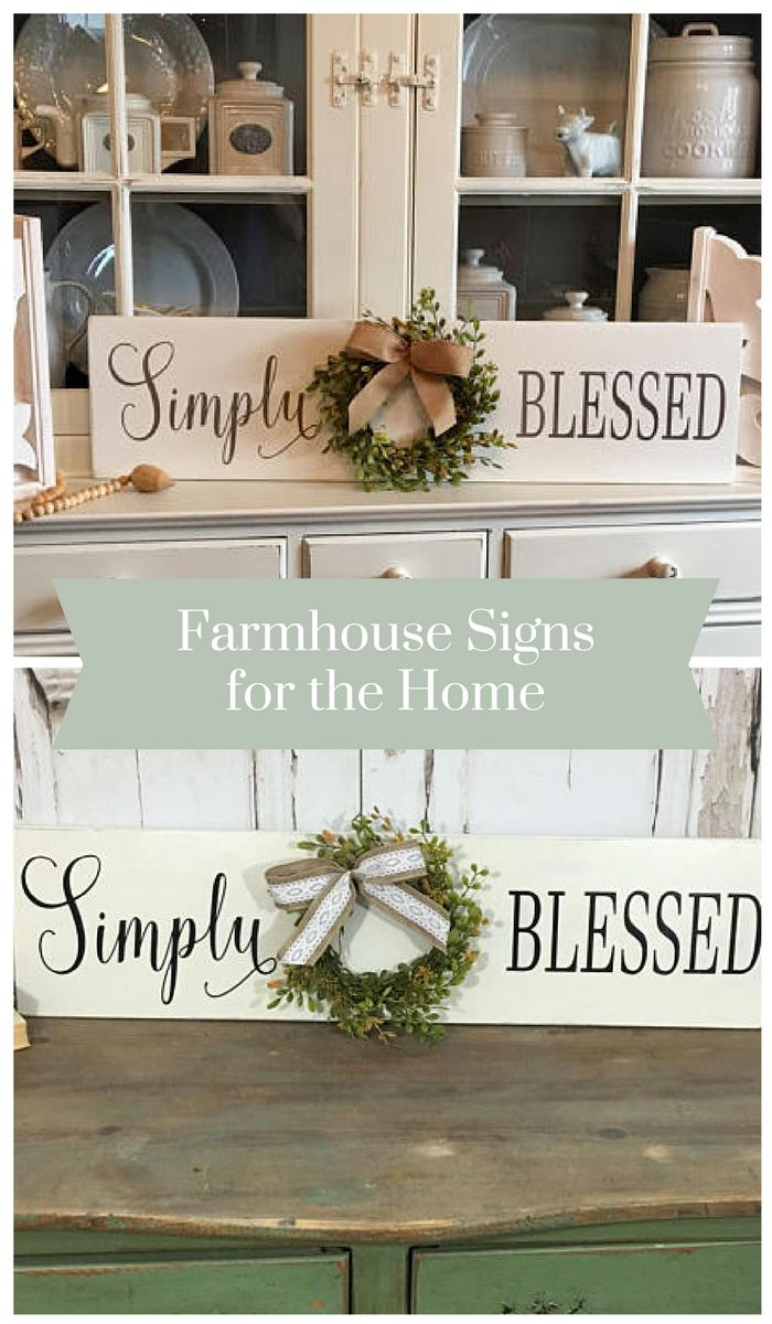 Farmhouse Rustic Style Simply Blessed Sign with Wreath Sign with Wreath in Cream Ivory Black. Love the style and detail of this sign. Beautifully handcrafted. #woodsigns #farmhousedecor #rusticdecor #homedecor #ad