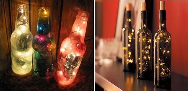 Decoração: Luminárias com garrafas de vidro. | Overdose V.I.P