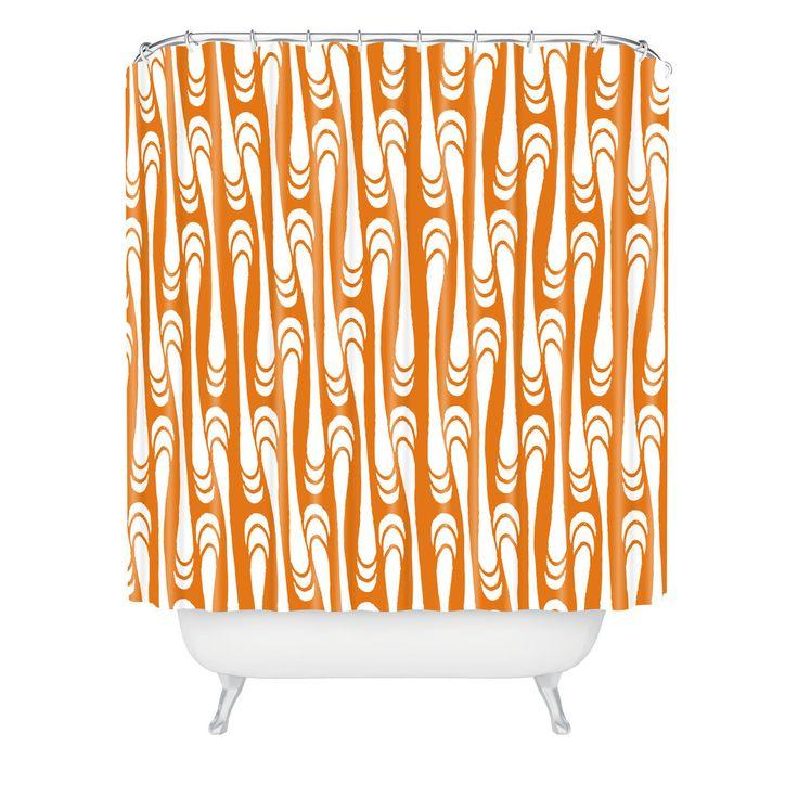 Karen Harris Teardrops White On Orange Shower Curtain | DENY Designs Home Accessories