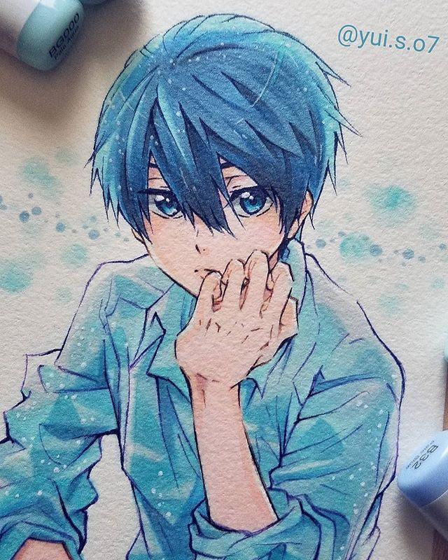 yui さんはinstagramを利用しています free 七瀬遙 じゅんちゃんへお返し便用に 描いたハルちゃん w 今月会うの楽しみにしてるよ また近々ジェイソン やりたいでござるよ 笑 f free anime cute anime boy manga drawing