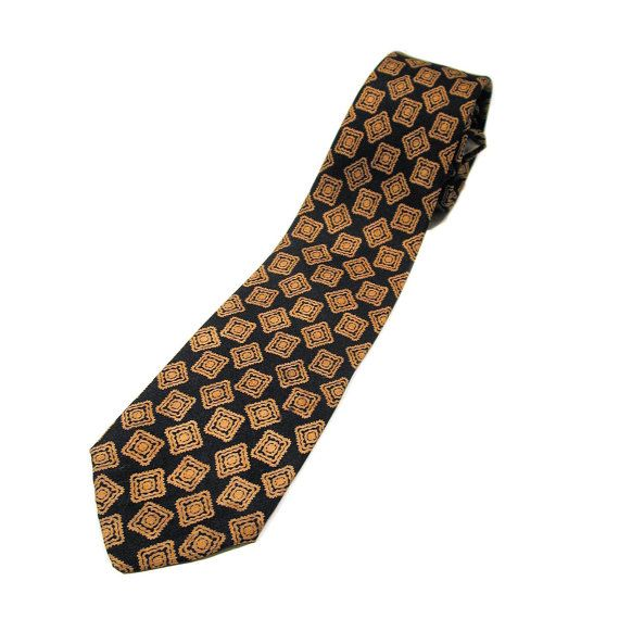 60s wembley tie black gold print vintage rayon necktie