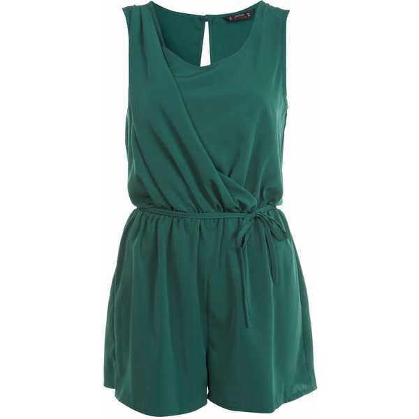 Petites Forest Green Romper (240 DKK) ❤ liked on Polyvore featuring jumpsuits, rompers, dresses, playsuits, shorts, women, petite jumpsuit, romper jumpsuit, miss selfridge jumpsuit and jumpsuits & rompers