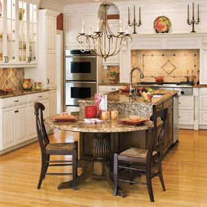 Two-Level Island - Stylish Kitchen Island Ideas - Southernliving. You can separate your prep area and eating space by terracing your island. When you have help in the kitchen, pull the chairs away for a workspace of a more kid-friendly height.