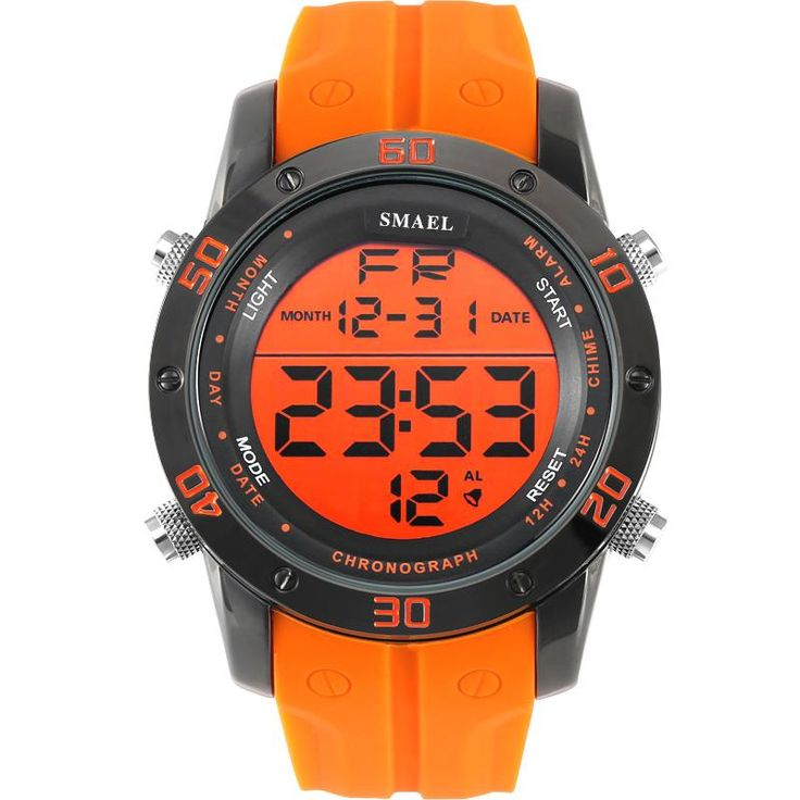 Fashion Casual Watches Men Orange LED Digital Watches Sports Alloy Clock Male Automatic Date Watch Army Men's Wristwatch WS1145 Do you want it  #shop #beauty #Woman's fashion #Products #Watch